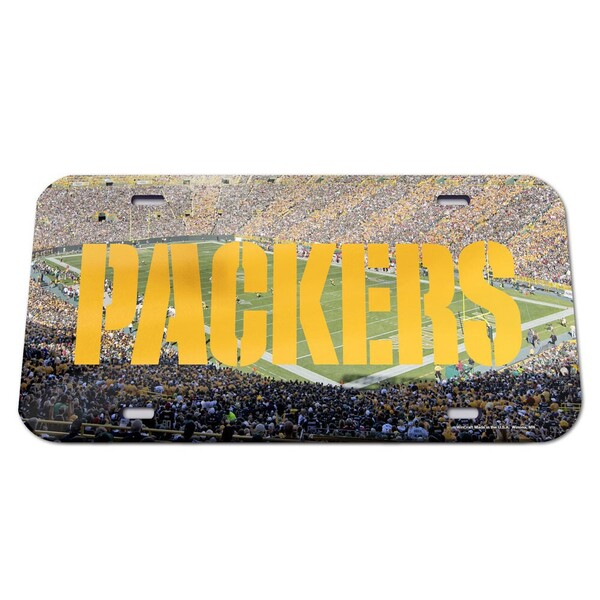 Packers Crystal Mirror License Plate, Black
