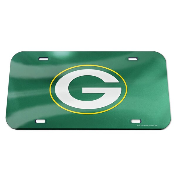 Packers Crystal Mirror License Plate, Green