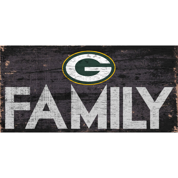 "Packers Family 12"" x 6"" Distressed Vintage Wood Sign"