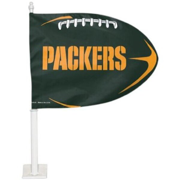 Packers Football Shaped Two Sided Car Flag