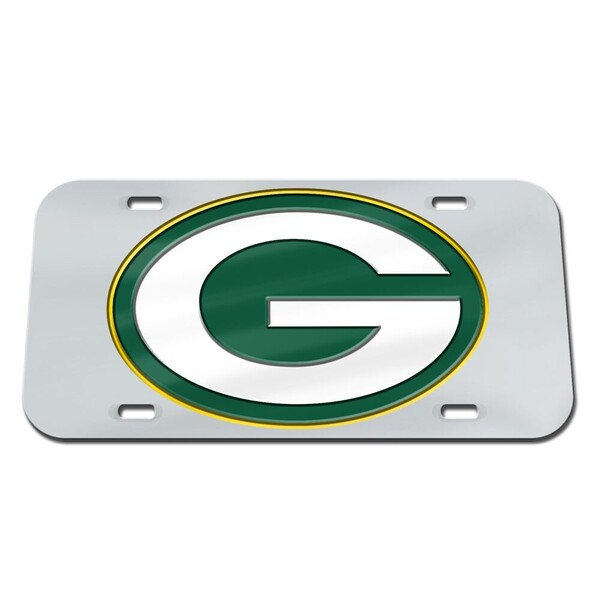 Packers Logo Silver Crystal Mirror License Plate