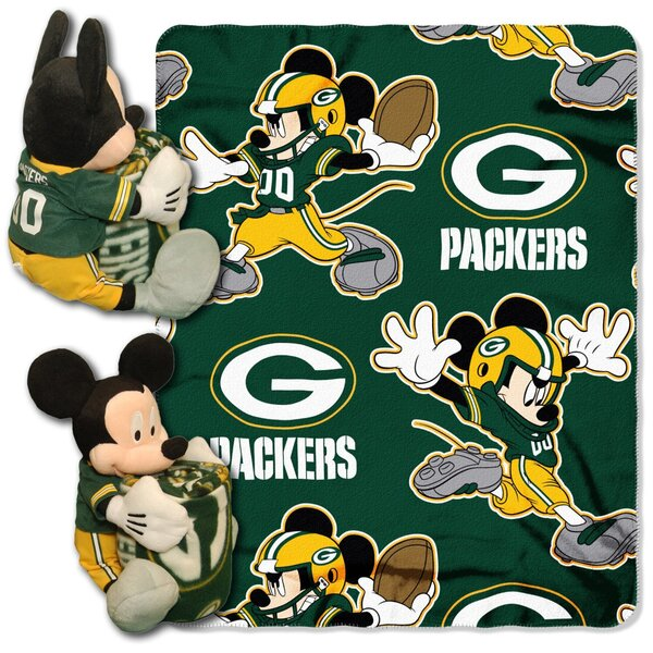 Packers Mickey Mouse Throw Blanket & Pillow Set